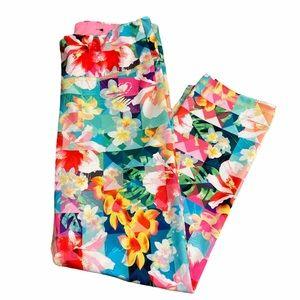 Live Love Dream Floral Check Running Capri Pants